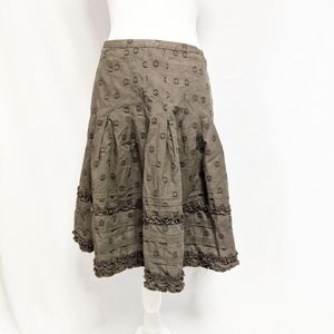 Boden Circle Skirt 10R Brown Ruffles pleated